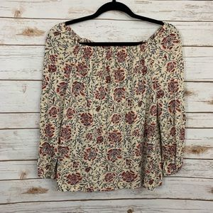 Chaps Floral Off The Shoulder Casual Top